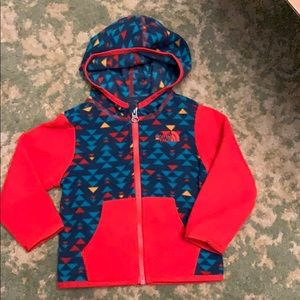 North face baby fleece jacket 6-12m red blue